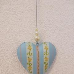 Fotoleine mit Herz hellblau weiss rosa gelb