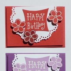 Mini-Karten 3-er Set rot violett hellblau Happy Birthday mit Blumen C7