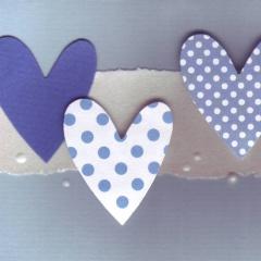 Mini-Karten 3-er Set  hellblau-blau mit Kuchen, Scwirl, Herz C7
