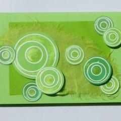 Mini-Karten 3-er Set hellgrün mit Herz Kreisen Päckli C7