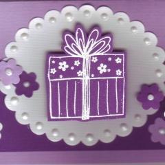 Mini-Karten 3-er Set  violett mit oval und Päckli Kuchen Cupcake C7