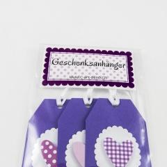 Geschenksanhänger mit Herz 3-er Set violett
