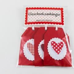 Geschenksanhänger mit Herz 3-er Set rot