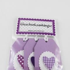 Geschenksanhänger mit Herz 3-er Set violett-flieder