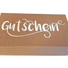 Geschenksschächteli Gutschein  kraftpapier
