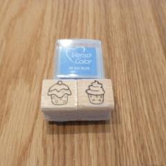 Stempel Set 1 cupcakes türkis