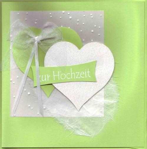 Hochzeitskarte Hellgrun Weiss Mit Zwei Herzen Quadratisch C Art