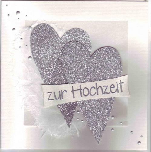 Hochzeitskarte Weiss Silber Mit Zwei Herzen Quadratisch C Art